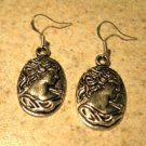 Earrings Pierced Tibetan Silver Cameo Lady Charm NEW #734