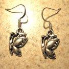 Earrings Pierced Tibetan Silver Butterfly Charm NEW #487