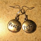 Earrings Tibetan Silver Peace Charm Pierced Dangle NEW #712