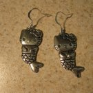 Earrings Tibetan Silver Hello Kitty Mermaid Charm Pierced Dangle NEW #701