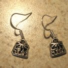Earrings Tibetan Silver Purse Charm Pierced Dangle NEW #490