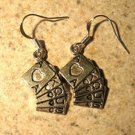 Earrings Tibetan Silver Poker Hand Charm Pierced Dangle NEW #710