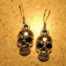 Earrings Tibetan Silver Skull Charm Pierced Dangle NEW #569