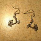 Earrings Tibetan Silver Motor Bike Charm Pierced Dangle NEW #475