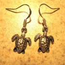 Earrings Pierced Tibetan Silver Turtle Charm NEW #568