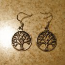 Earrings Tibetan Silver Tree of Life Charm Pierced Dangle NEW #479