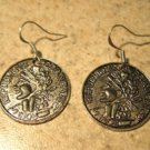 Earrings Tibetan Silver Coin Charm Pierced Dangle NEW #736