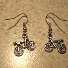 Earrings Tibetan Silver Bicycle Charm Pierced Dangle NEW #456