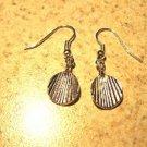 Earrings Pierced Tibetan Silver Shell Charm NEW #454