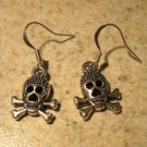 Earrings Tibetan Silver Skull Charm Pierced Dangle NEW #739