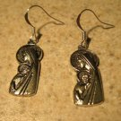 Earrings Pierced Tibetan Silver Madonna Charm NEW #605