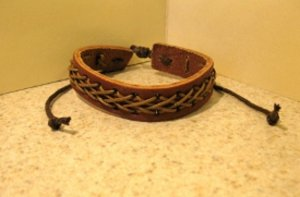 Bracelet Unisex Brown Leather with Tan Cross Stitch Punk Style HOT! #525