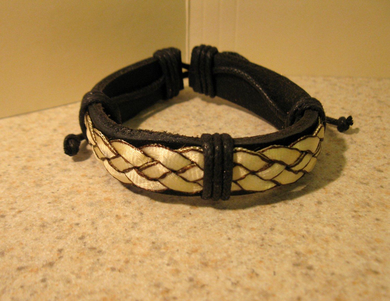 Bracelet Unisex Black Leather with White Braid Punk Style HOT! #925