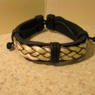 Bracelet Unisex Black Leather with White Braid Punk Style HOT! #925