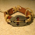 Bracelet Unisex Brown Leather Cross Charm Punk Style HOT! #204