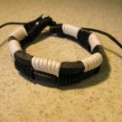 Black Leather Unisex Punk Bracelet With White Wrapping NEW #818