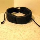 Black Leather Unisex Punk Bracelet With Black Wrapping NEW #520
