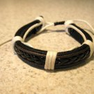 Black Leather Unisex Punk Bracelet with White Wrapping HOT! #819