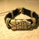 Black Leather Unisex Punk Bracelet with Owl Charm HOT! #388