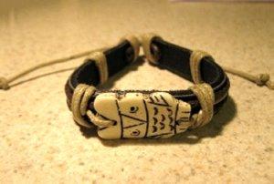 Black Leather Unisex Punk Bracelet with Owl Charm HOT! #388