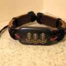 Brown Leather Unisex Punk Surfer Bracelet with Three Tree Design HOT! #402