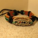 Tan Leather Unisex Punk Surfer Carved Charm Bracelet HOT! #930