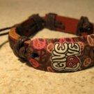 Brown Leather Unisex Punk Surfer Give Love Peace Design Bracelet HOT! #990