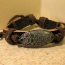 Black Leather Unisex Punk Surfer Valentine Design Bracelet HOT! #530