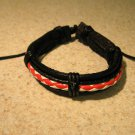 Black Leather Unisex Punk Surfer Bracelet with Red & White Weave Design HOT! #812