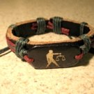 Black Leather Unisex Punk Surfer Bracelet with Libra Zodiac Design HOT! #381