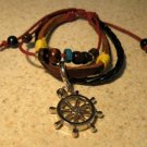 Brown & Black Leather Unisex Punk Surfer Bracelet With Wheel Design HOT! #989