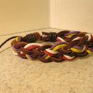 Brown Leather Unisex Punk Surfer Bracelet With Multi Color Weave Design HOT! #266