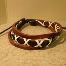 Brown & Black Leather Unisex Punk Surfer Bracelet With White Cross Wrap Design HOT! #920