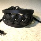 Black Leather Unisex Punk Surfer Bracelet With Braid  Design HOT! #41