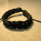 Black Leather Unisex Punk Surfer Bracelet With Weave Design HOT! #198