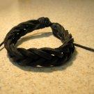 Black Leather Unisex Punk Surfer Bracelet With Weave Design HOT! #198