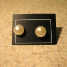 White Pearl Button Stud Earrings New and Beautiful #276