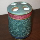 Green Florentine Scroll Hand Painted Ceramic Toothbrush Holder Nice! #D101