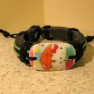 Childs Hello Kitty Umbrella Charm Black Leather Punk Bracelet New #613