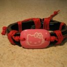 Childs Pink Hello Kitty Charm Black Leather Punk Bracelet New #694