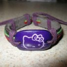 Childs Purple Hello Kitty Charm Black Leather Punk Bracelet New #695