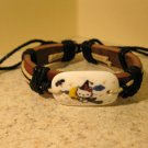Childs Hello Kitty Broom Charm Brown Leather Punk Bracelet New #616