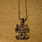 Beautiful Rhinestone Crystal Kitty Bling Necklace & Pendant New #936