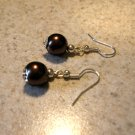 Beautiful Chocolate Pearl Tibetan Silver Dangle Pierced Earrings NEW! #792