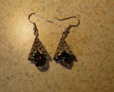 Beautiful Purple Bead Tibetan Silver Dangle Pierced Earrings NEW! #474