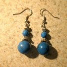 Beautiful Tibetan Silver Blue Turquoise Dangle Pierced Earrings NEW! #362
