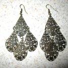 Beautiful Bronze Cascading Teardrop Chandelier Pierced Earrings NEW! #401