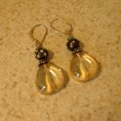 Beautiful Yellow with Brown Bead Pierced Earrings NEW! #239