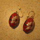 Beautiful Red Cloisonné Bead Pierced Earrings NEW! #221