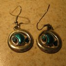 Lovely Aqua Blue Topaz Circle Pierced Dangle Earrings New and Beautiful #474
